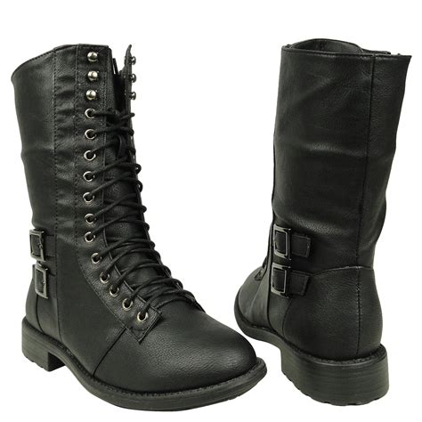 womens mid calf casual comfort lace up combat boots us