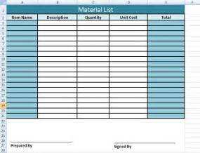 Construction Materials List Template by Get Material List Template In Excel Microsoft Excel