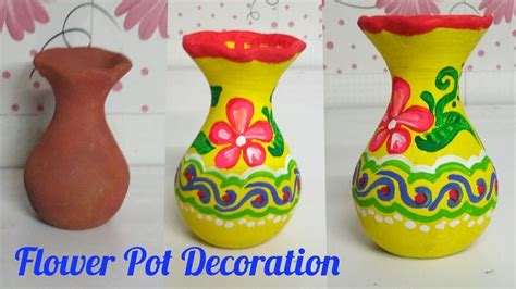 how to decorate pot at home how to paint flower pot at home diy diwali decoration