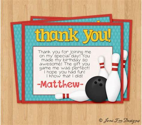 printable birthday cards bowling matching bowling birthday party thank you card printable