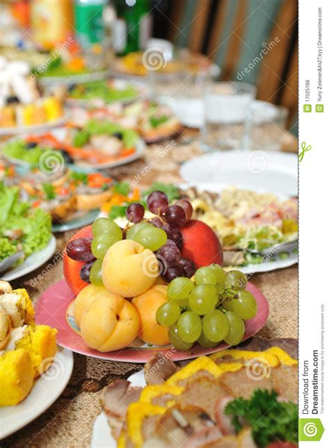 table with tasty food royalty free stock photos
