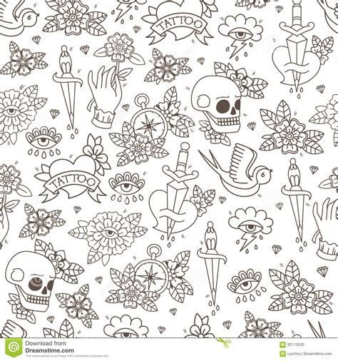doodle pattern school seamless doodle pattern traditional old school tattoo