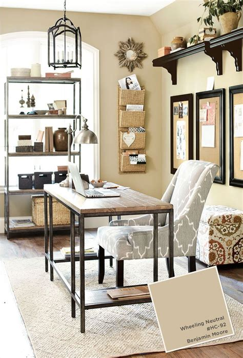 home office with ballard designs furnishings benjamin wheeling neutral paint color http