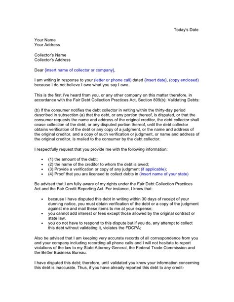 Response Credit Letter Credit And Debt Dispute Letters