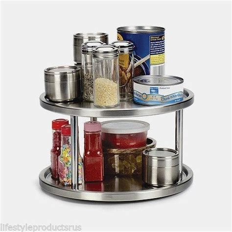 Turntable Spice Rack rotating stainless steel two 2 tier turntable spice racks