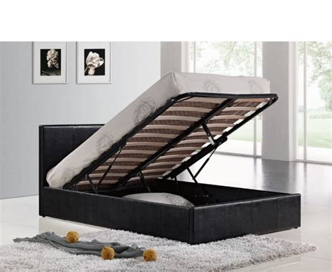 4 foot ottoman bed mallory small double 4ft black faux leather ottoman bed