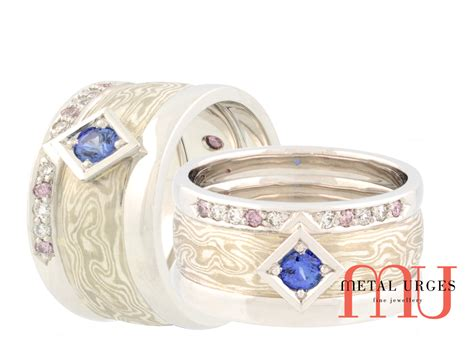 Gamis Blue Saphire unique mokume pink diamonds and blue sapphire ring custom made in australia mokume