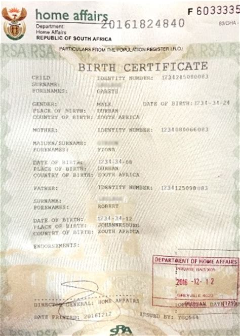 Birth Marriage And Records South Africa South Birth Certificate Template Image Collections Certificate Design And