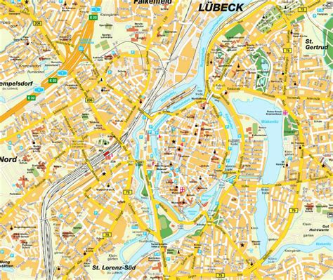lubeck city map lubeck map and lubeck satellite image