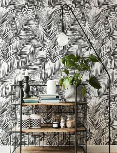 Awesome Deco Cuisine Rose Poudre  #14: Papier-peint-mural-noir-et-blanc-d%C3%A9co-tropicale-e1486037955930.jpg