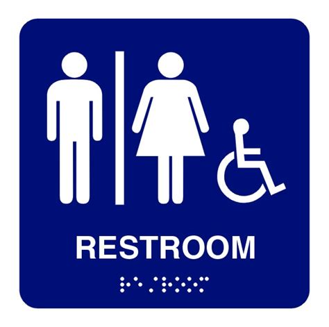 ada bathroom sign 8x8 unisex handicap restroom