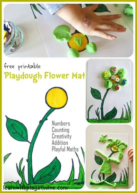 printable playdough mats free learn with play at home playdough flower mat free