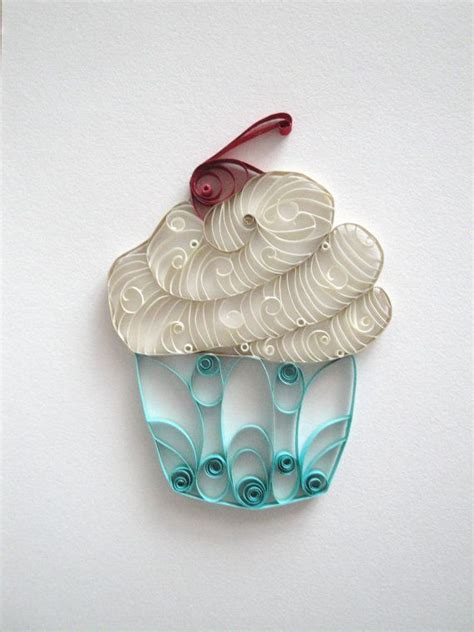 quilling home decor quilled paper cupcake home decor white and blue cupcake