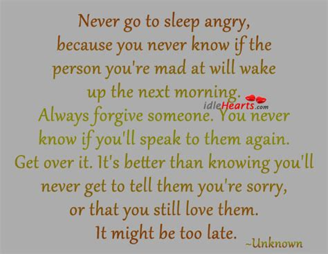 never go to bed angry quotes going to sleep mad quotes quotesgram