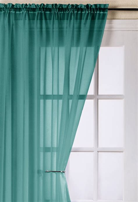 Teal Curtains Trent Teal Voile Panel Woodyatt Curtains Stock
