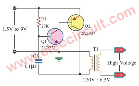 Trafo Inverter 1 5v 3v To 315v For Human Shock Circuits high voltage mini power supply by 2n2222 electronic projects circuits