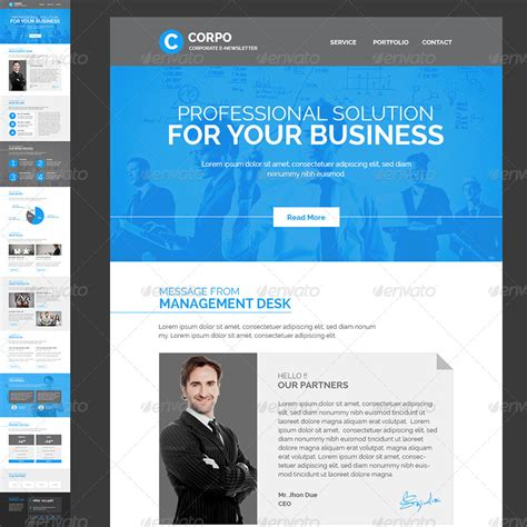 Corporate E Newsletter Template By Kalanidhithemes Graphicriver Ceo Email Template