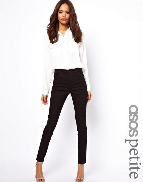 Asos Cotton Twill Trousers by Asos High Waist Trousers In Cotton Twill In Black Lyst