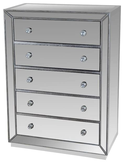 5 drawer silver mirrored exclusive chest