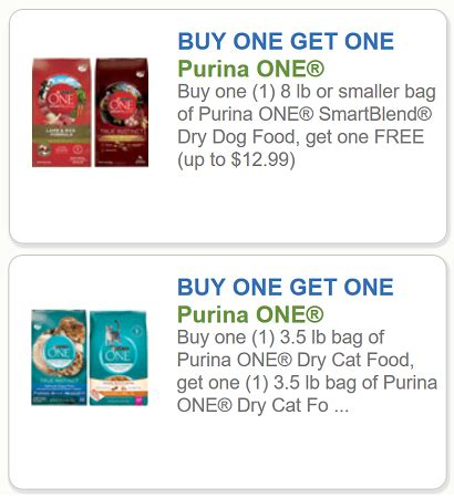 printable cat food coupons purina purina coupons bogo free purina one smartblend dry dog