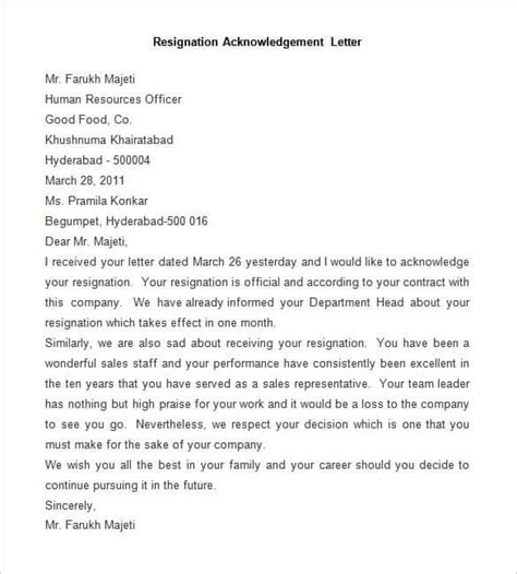 Acknowledgement Letter For Leave 69 resignation letter template word pdf ipages free premium templates