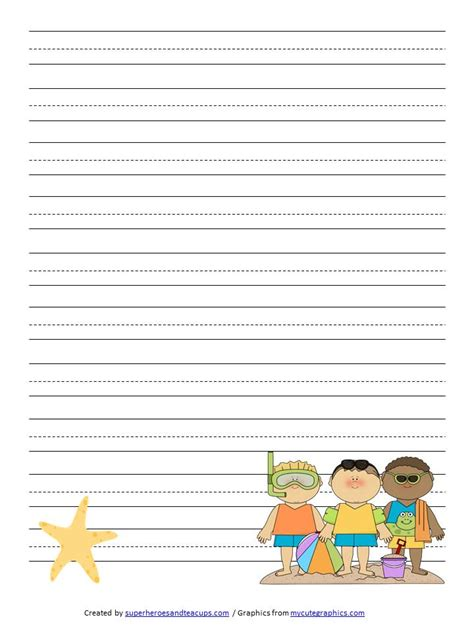 summer writing paper template free printable summer handwriting paper