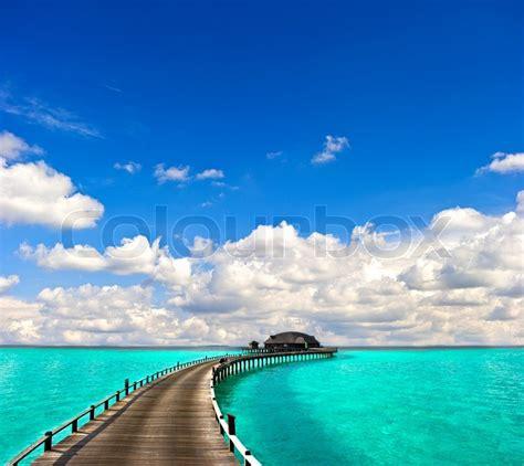 turquoise sea  beautiful blue sky stock photo