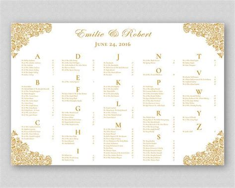 wedding seating sign template gold wedding table seating plan sign poster board