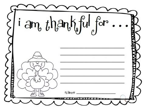 writing template for thanksgiving cards kindergarten printable i am thankful for thanksgiving happy easter