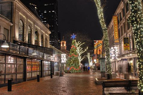 faneuil hall holiday lights photograph by joann vitali