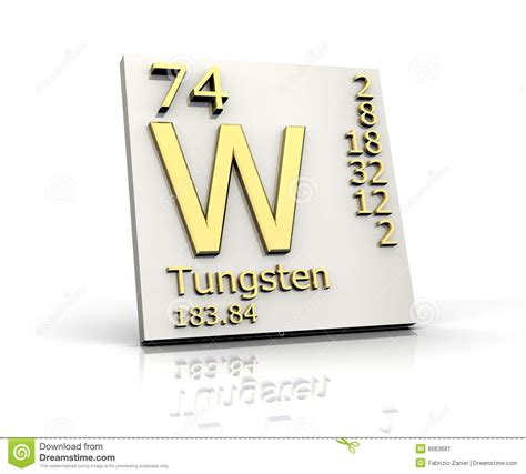 tungsten form periodic table of elements stock image