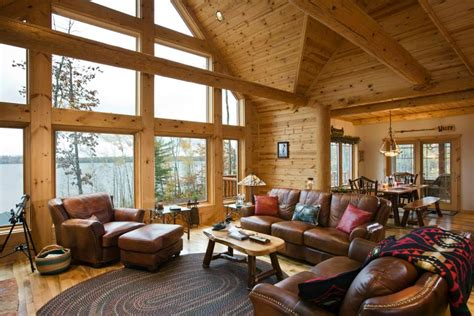 log home living room log cabin