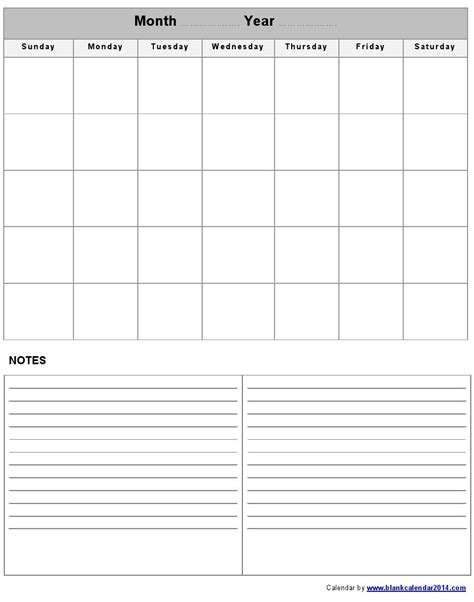 blank monthly calendar template word great printable