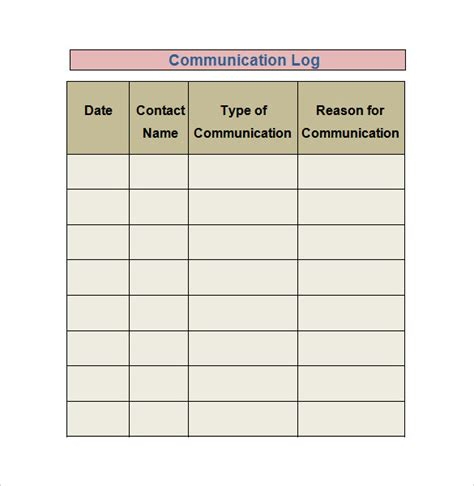 communication log template sle log template documents in pdf word excel