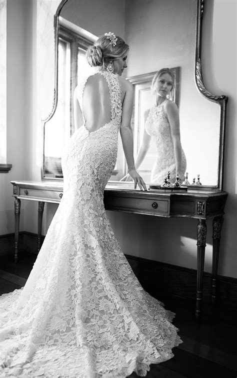 Vintage High-Neck Lace Wedding Dress | Martina Liana Wedding Dresses
