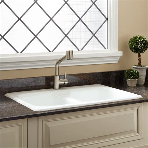 Drop In Kitchen Sinks 33 Quot Pascoe Bowl Cast Iron Drop In Kitchen Sink Kitchen