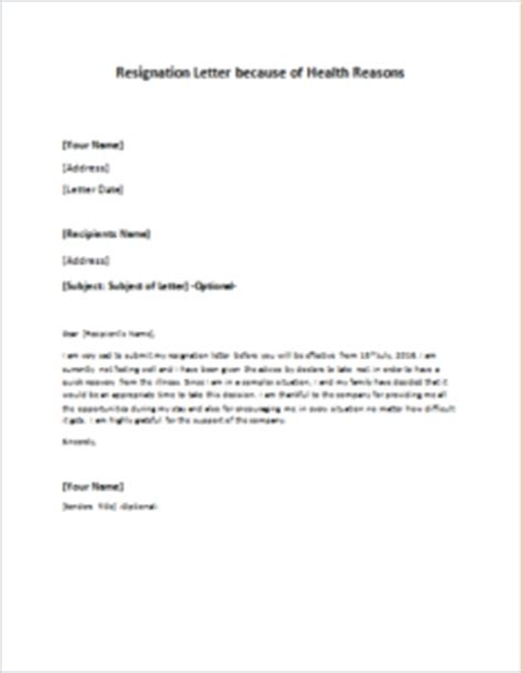Resignation Letter Due To Ill Health How To Write A Resignation Letter Health Reasons Cover Letter Templates
