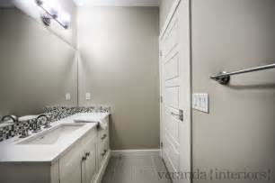 contemporary gray bathroom with gray walls paint color single bathroom vanity with
