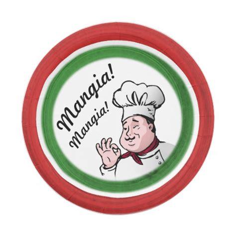design love fest paper plates italian chef mangia mangia paper plate zazzle