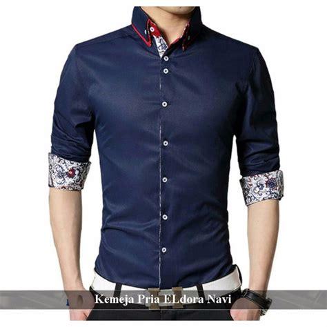 5420 Baju Kemeja Pria Lengan Panjang Simple Blue Soft harga jual kemeja pria terbaru mei 2018 harganyata