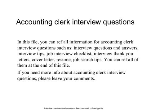 accounting clerk questions