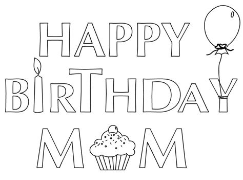 happy birthday coloring pages for mom az coloring pages