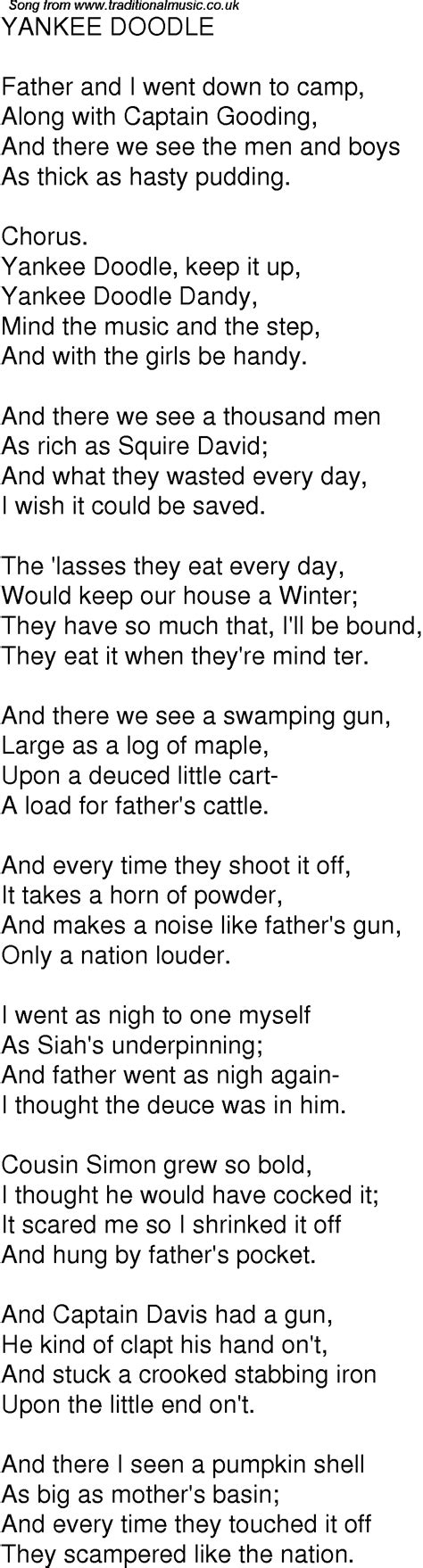 yankee doodle song free time song lyrics for 02 yankee doodle