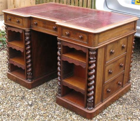 unusual victorian mahogany double sided library desk