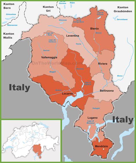 canton ticino canton of ticino district map