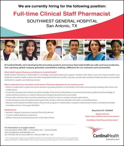 Cardinal Health Mba Operations Internship by Spotlight Clinical Staff Pharmacist With Cardinal