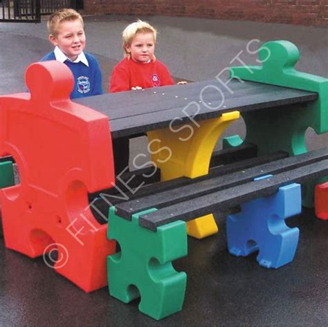jigsaw bench outdoor weatherproof junior jigsaw seating bench fitness