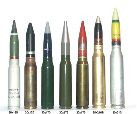 30x165mm to 30x210mm ammo