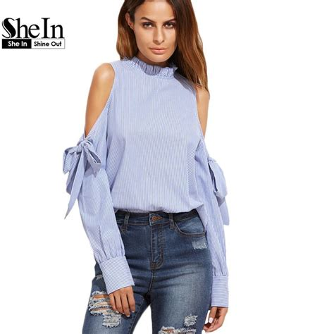 Blouse Fashion Korea 420103 5 2017 shein korean fashion clothing tops and blouses for blue vertical striped ruffle