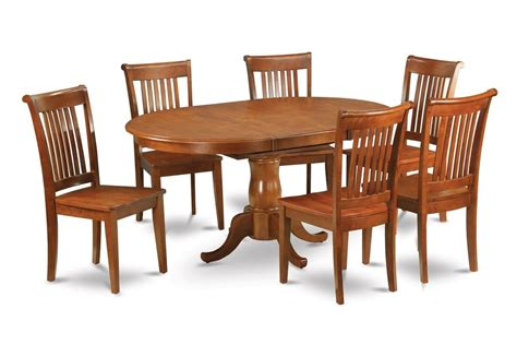 Kitchen Table Seats 6 7pc Portland Oval Kitchen Dining Set Table 6 Wood Seat Chairs Saddle Brown Ebay